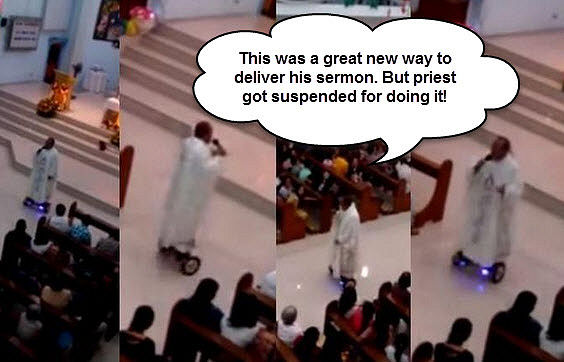 HoverBoard Riding Priest Suspended