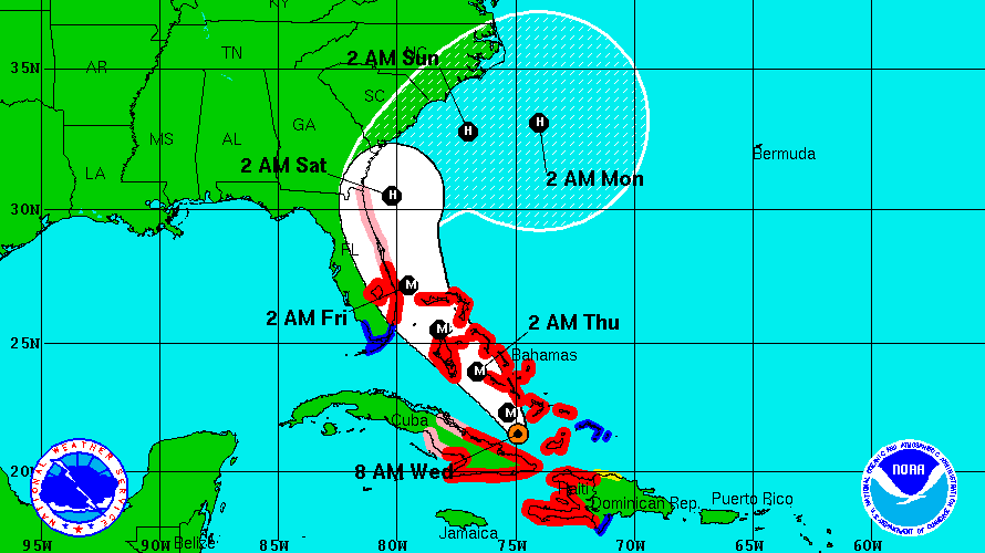 Hurricane Matthew Location Map