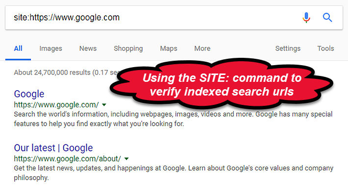 Site Command Find Indexed URLS